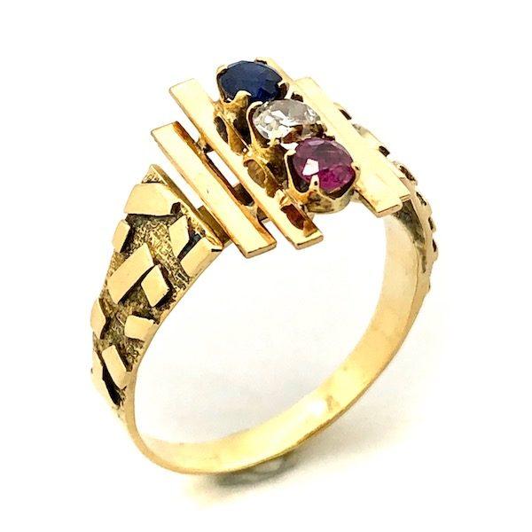 Extreem 18 karaat gouden ring met saffier, diamant en robijn (rood, wit en #BO52