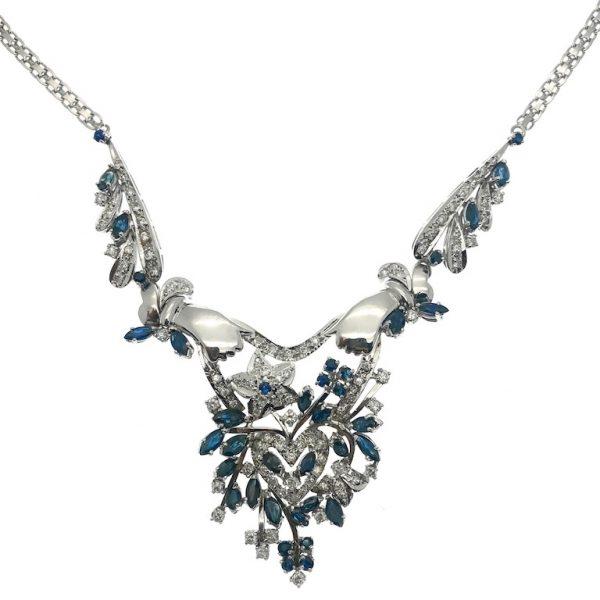 Gouden collier, exlcusief, diamant, saffier, floraal
