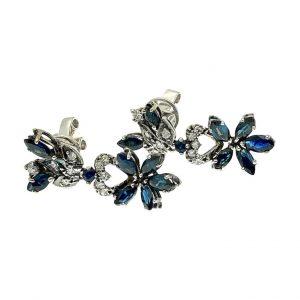 Exclusieve oorbellen diamant en saffier