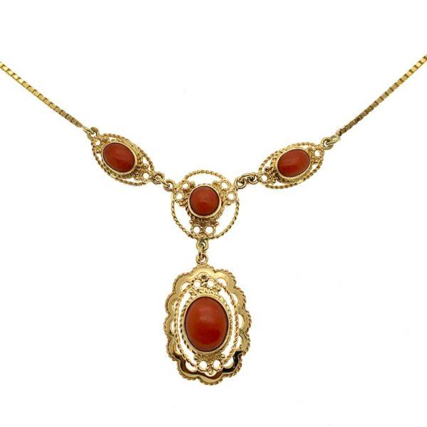 Collier vintage bloedkoraal