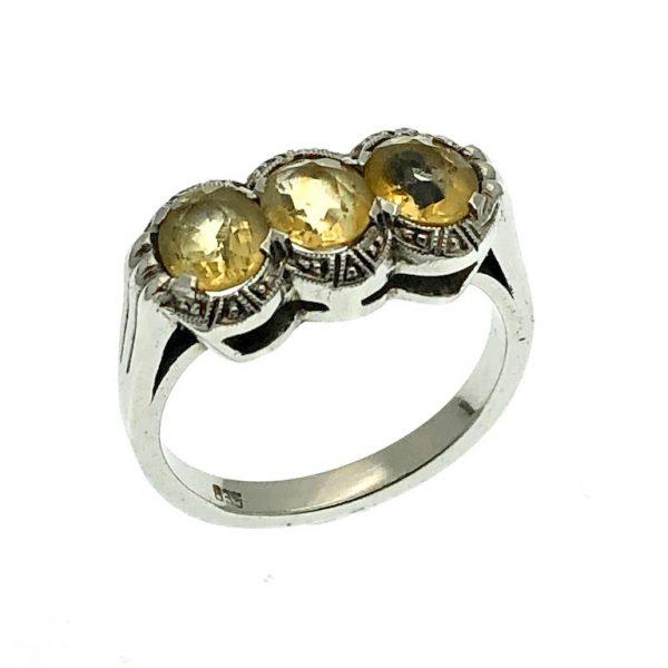 zilveren ring gele edelsteen