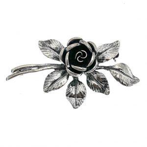 zilveren broche roos