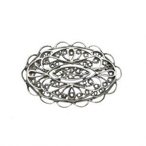 zilveren antieke broche