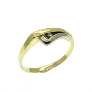 bicolor solitair ring goud