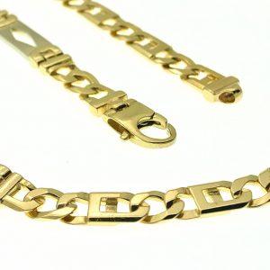 gouden schakelketting met witgouden tussenstukjes