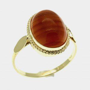 gouden ring carneool