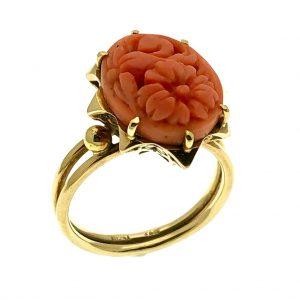 vintage gouden ring bloedkoraal