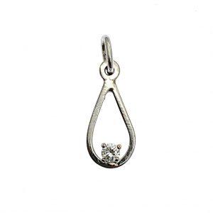 witgouden hanger met diamant 6 punter 0,06ct
