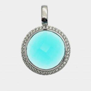 zilveren hanger blauwe steen