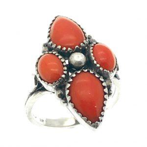 Vintage zilveren ring bloedkoraal