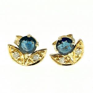 gouden oorbellen saffier en diamant