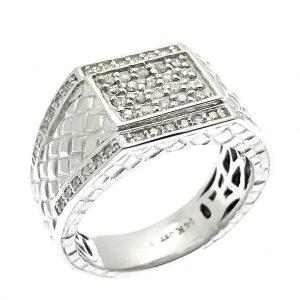 witgouden zegelring diamanten