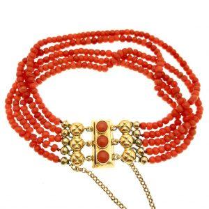 bloedkoraal armband met goud