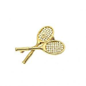 Broche tennisracket goud