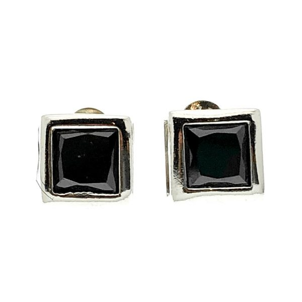 Zilveren oorstekers met onyx