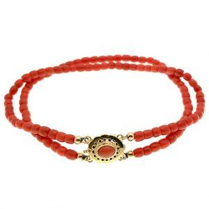 armband met bloedkoraal stenen