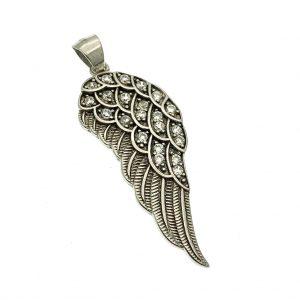 zilveren hanger van vleugel met zirconia