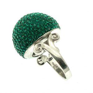 zilveren ring met groene zirconia