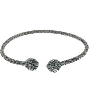 zilveren klemarmband met leeuwen kop
