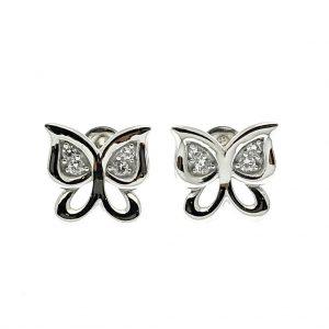 zilveren oorstekers van vlinder