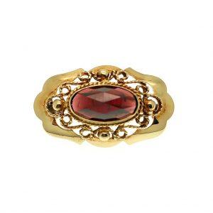 antieke gouden broche met granaat steen