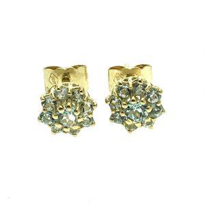 gouden oorstekers met aquamarijn
