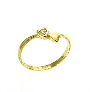 gouden ring met hartje en diamant