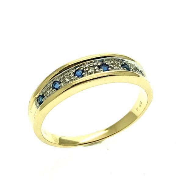 gouden rijring met saffier en diamant