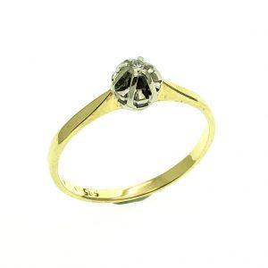 gouden solitair rinket diamant