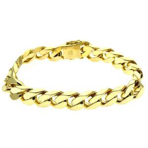Cuban chain. Brede gouden armband met gourmet schakel