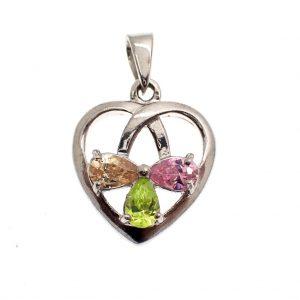zilveren hanger van hart met gekleurde zirconia