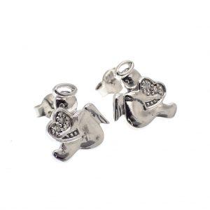 zilveren oorstekers van engeltjes