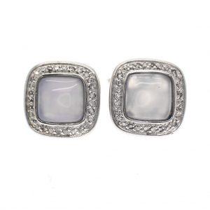 zilveren oorstekers met maansteen en zirconia