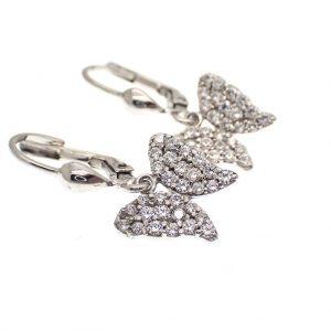 zilveren oorbellen met vlinder zirconia