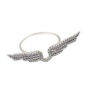 zilveren ring vleugels met zirconia