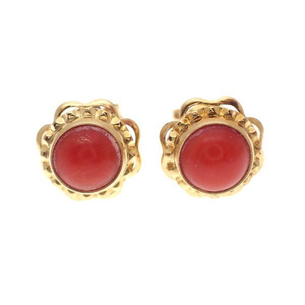 vintage gouden oorstekers bloedkoraal