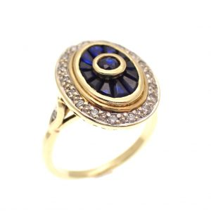 vintage gouden cocktailring saffier diamant