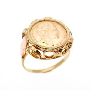 Gouden ring met munt