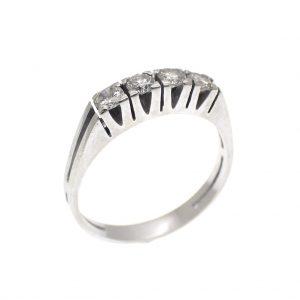 witgouden rij ring diamant