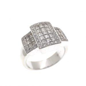 witgouden cluster ring met diamant