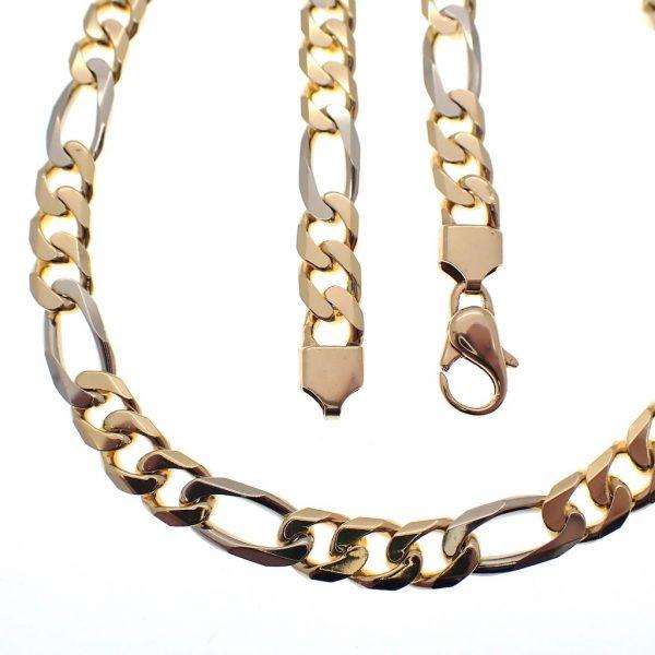 bicolor gouden figaro ketting zwaar
