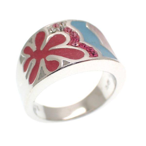 zilveren ring roze met zirconia