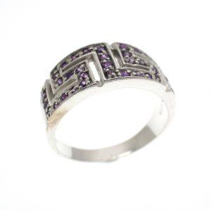 zilveren ring met meander motief paars zirconia