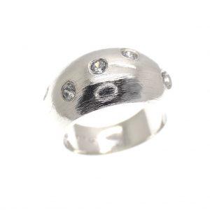 zilveren bolle ring met zirconia