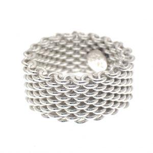 zilveren brede schakel ring