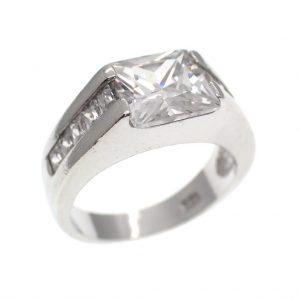 zilveren cluster ring zirconia