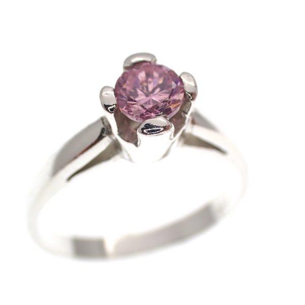 zilveren solitair ring roze steen