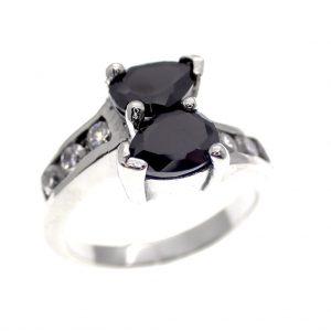 zilveren ring onyx zirconia