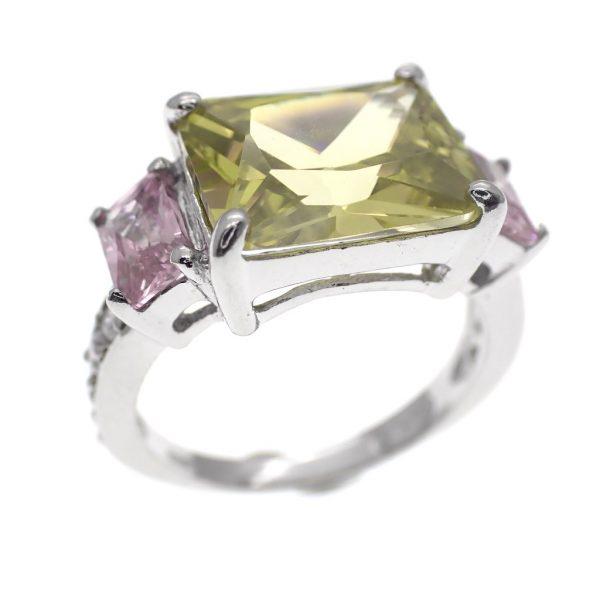 zilveren cluster ring kleurrijk
