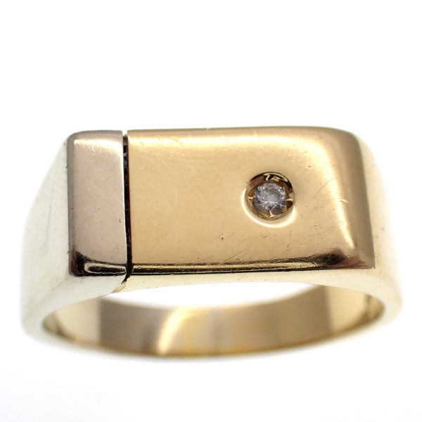 bicolor gouden heren ring diamant